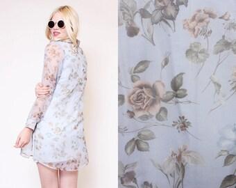 Vtg 90s Fun Clueless Floral Revival Grunge Sheer Flower Calvin Klein-esque Matching Set 2 piece Blouse Dress M/L