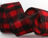 """Wired Flannel Buffalo Check Ribbon, Red & Black Flannel, 2.5"""" wide by the yard, Wreaths, Lumberjack Party, Gift Wrapping, Party Supplies"""