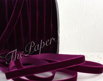 """Plum Velvet Ribbon, 3/8"""" wide by the yard, Pantone Plum Velvet Ribbon, Velvet Chokers, Weddings, Sewing, Gift Wrapping, Bouquets"""