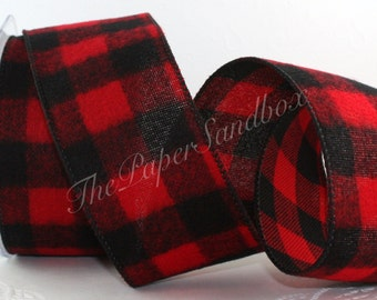 "Wired Flannel Buffalo Check Ribbon, Red & Black Flannel, 2.5"" wide by the yard, Flannel Ribbon, Lumberjack Party, Gift Ribbon, Diaper Cakes"
