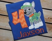 Personalized Paw Patrol Birthday Shirt with Number and Rocky