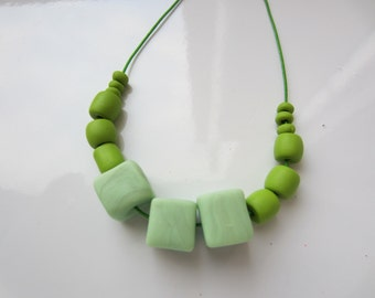 Handmade Beaded Necklace, Polymer Bead Necklace in SeaWeed