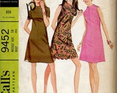 UNCUT 1960's McCall's Sewing Pattern No. 9452 - A-Line Dress with Funnel Neckline and Scalloped Hem and Neckline Mod Mini Dress Bust 40