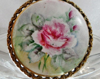 Vintage Handpainted China Rose Brooch. Pink & Green Rose Flowers Porcelain Cameo Pin.