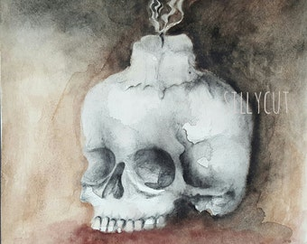 Memento mori skull - Memento Mori, Vanitas, gothic, macabre, dark art, victorian, Aquarell