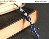 VALENTINE SALE Cobalt Blue Bookmark. Beaded Bookmark. Christian Book Thong. Royal Blue Book Charm. Christian Bookmark. Beaded Book Marker.
