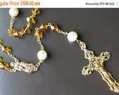 VALENTINE SALE Gold Rosary Necklace. Catholic Rosary in Yellow Amber and Pearl. Handmade Rosaries by Gilliauna