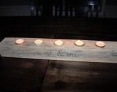 Mr and Mrs Rustic Wood Candle Holder-Personalize-Wedding or Home Decor Gift