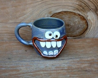 Big Smile Happy Morning Coffee Mug. Blue Stoneware Pottery Mug. Unique Cool Coffee Cups. Handmade. 16 Ounces. Unique Gift. One of a Kind.