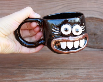 Hot Chocolate Mug. Fun and Unique Gift Ideas. Coffee Cup. Gifts for Moms. Small Pottery Coffee Cup in Brown Black.