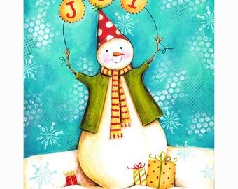 Sweet Joy Snowman Print 8x10