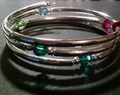 RESERVED FOR CLA3SND Custom Order Crystal and Silver Bangle Bracelet, Swarovski Crystals