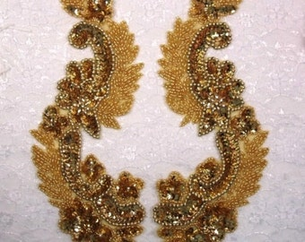 "0180 Gold Mirror Pair Sequin Beaded Appliques 8"" (0180x-gl)"
