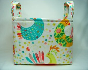 PK Fabric Basket in Feathered Flock - Storage Basket - Diaper Caddy - Ready To Ship - Reversible