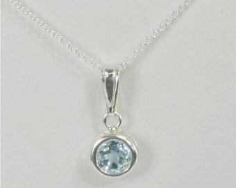 Sky Blue Topaz 6mm 1ct Sterling Silver Necklace Backset Bezel