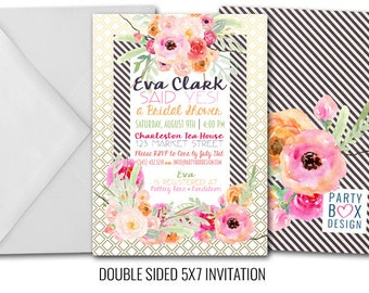 Floral and Stripes Invites