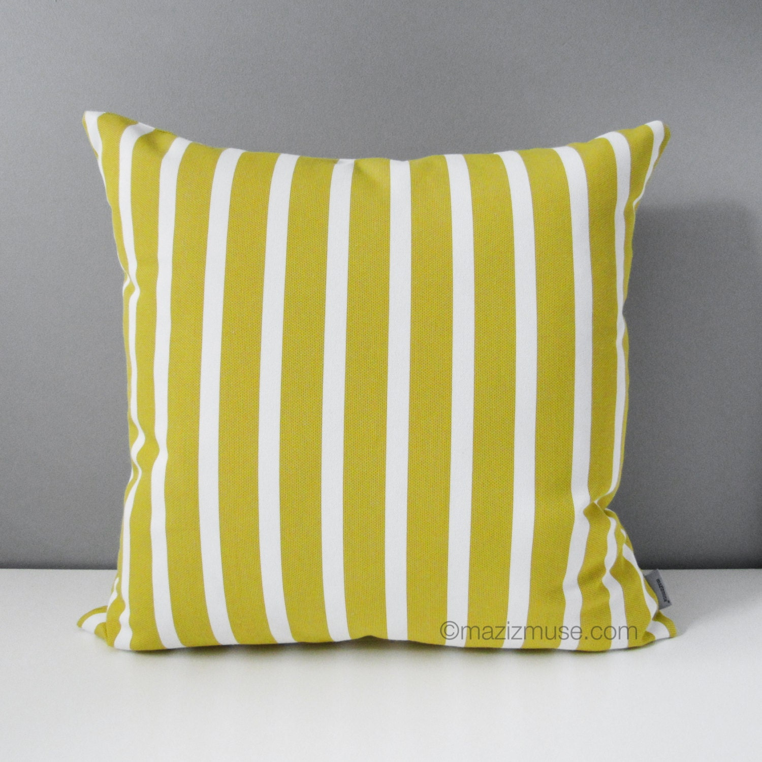Citron Yellow & White Striped Outdoor Pillow Cover Decorative
