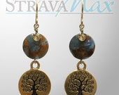 Tree of Life Earrings - 47mm length - with 12mm blue and gold quartz coin beads - tree charm boho nature earrings - gold filled earwires