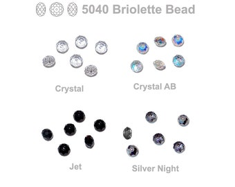 Swarovski 5040 Briolette Beads- 6 Bead Pack - 4mm wide by 6mm diameter - choose from crystal, crystal AB, jet, crystal silver night