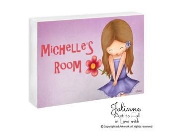 Personalized children door sign for girls bedroom or nursery decor , custom name door hanger, children decor, Personalized Art for kids