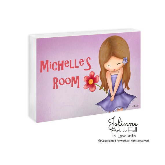 Personalized children door sign for girls bedroom or nursery decor , custom name door hanger, children decor, Personalized Art for kids