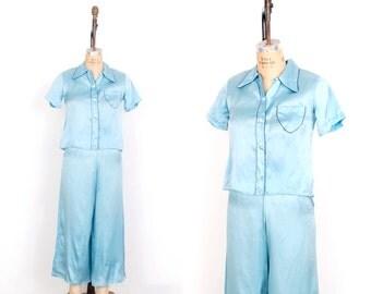 Vintage 1940s Pajamas / 40s Blue Silk Pajama Top and Pants Set /  Wide Leg (extra Small XS)