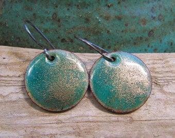 Enamel Jewelry, Enamel Earrings, Copper, River Gems