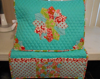 Sewing Machine Cover and Mat-Dresden Plate- Aqua Blue, Green and Red Fabrics- Handmade