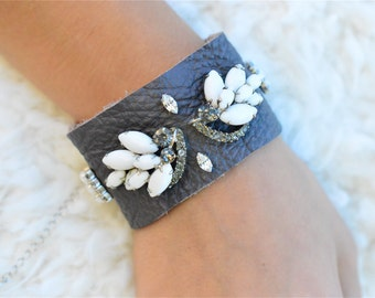 Gray Leather Bracelet, Rhinestone Cuff Bracelet, Gray White Bridesmaid Bracelet, Vintage Bridal Bracelet, Stocking Stuffer, Gifts Under 60