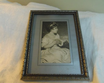 "Vintage Print Age of Innocence by Sir Joshua Reynolds, 1930s print wood framed 7.75"" x 5.75"""