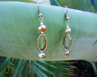 Handmade Casual Chic Brass and Teal Beaded earrings-Ready to ship