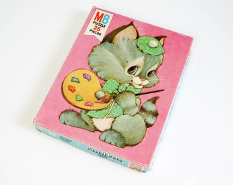 REDUCED Vintage 1970s Toy / 70s Milton Bradley Painting Kitten Pastel Pets Jigsaw Puzzle Complete / Big Pieces for Little Fingers