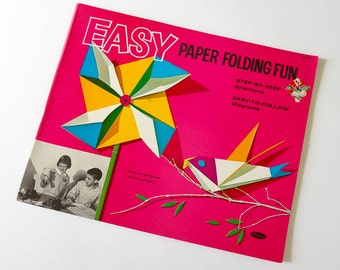 Vintage 1960s Childrens Activity Book Whitman Easy Paper Folding Fun 1963 Pb UNCUT Origami Style, Mid Century Retro Illustrations