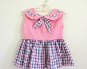 Vintage Girls Size 1-2 Dress / 1960s Childs Frock / Pink and Plaid Cotton, Gathered Skirt
