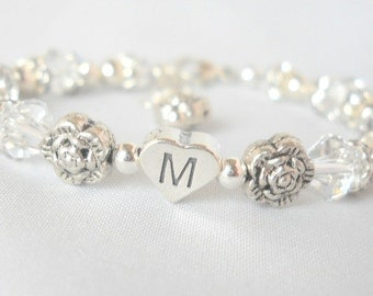 Flower Girl Bracelet Flower Girl Jewelry Junior Bridesmaid Baptism First Communion Gift Big Sister Heart Initial B241