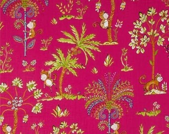 Sundara Oasis Fabric by Dena Designs for Free Spirit/Westminster Lalika Monkey Climbing Multicolored Palm Trees on Pink
