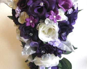 """Wedding Bridal bouquets Silk flowers PURPLE PLUM Cream Lavender SILVER 17 piece Package  bouquet Bride flower Centerpieces """"RosesandDreams"""""""