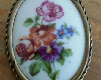 Antique Limoges Hand Painted Porcelain Brooch