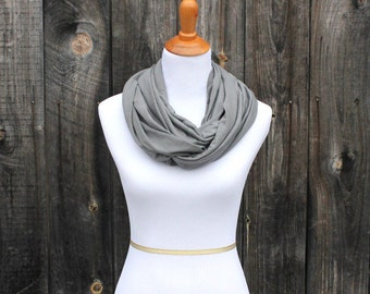 NEW, infinity scarf, organic baby blanket and nursing cover, cotton and bamboo, The Milk and Honey Wrap®, grey nursing scarf
