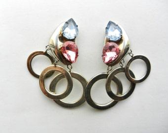 Eye-catching  dangle rings and large drop rhinestones earrings - showy look for a original 1970s italian design earrings - Art.218/4 -