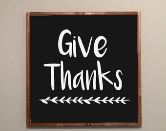 wood sign- hand painted- thanksgiving- gather- give thanks