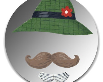 Hand painted mirror - Gentleman with Green Hat and Moustache