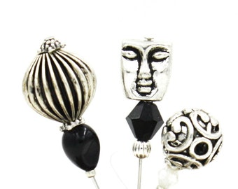 Stick Pins- Set of Three  -Masquarade
