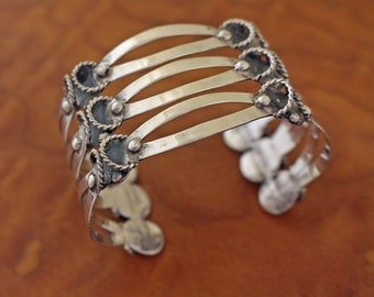Taxco Silver Bracelet Three Level