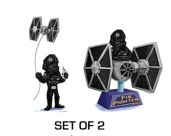 Tiny Tie Fighter Pilot SET OF TWO