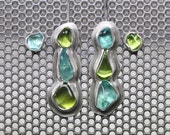 RESERVED FOR L - Mismatched Raw Tumbled Apatite Peridot Silver Earring Set - Tropical Cascades