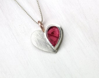 Pink Lake Baikal Tourmaline Heart Necklace Silver Modern Valentines Day Gift Romantic Love Drop Shaped Gemstone - Herztropfen