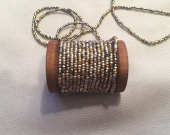 Antique French metal bead strand Faceted Diamond cuts and rounds vintage seed beads steel cuts  repairs restorations