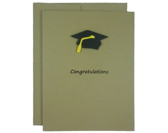 Kraft Neutral Graduation Card Congratulations Graduation Cap Handmade Card Gift for Graduation College Grad Card Graduation Gift High School