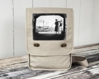 Boston Harbor Artist - Messenger Bag - Field Bag - School Bag - Natural Stone - Canvas Bag